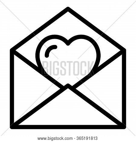 Heart Envelope Icon. Outline Heart Envelope Vector Icon For Web Design Isolated On White Background