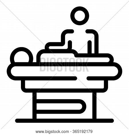 Masseur Over A Patient Icon. Outline Masseur Over A Patient Vector Icon For Web Design Isolated On W