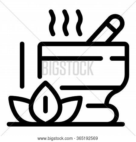 Lotus And Bowl For Grinding Icon. Outline Lotus And Bowl For Grinding Vector Icon For Web Design Iso