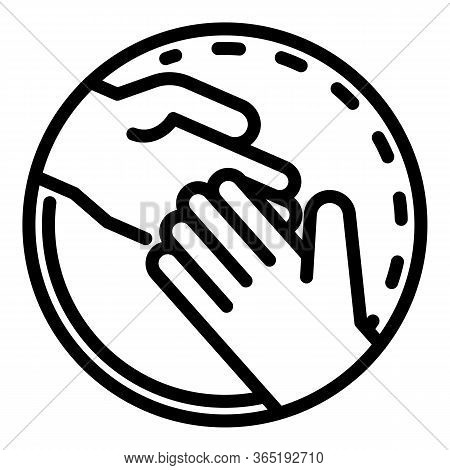 Hand In Hand In A Circle Icon. Outline Hand In Hand In A Circle Vector Icon For Web Design Isolated