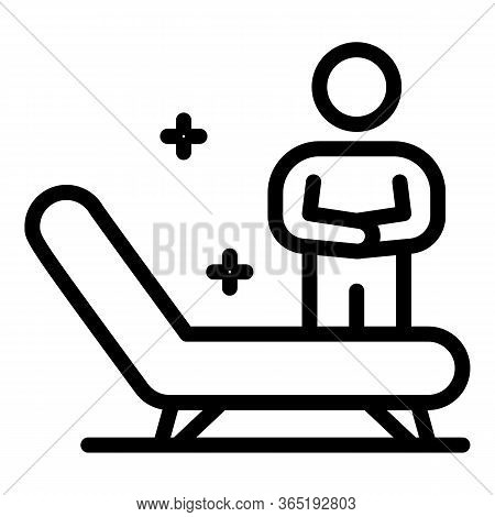 Man Near A Hospital Bed Icon. Outline Man Near A Hospital Bed Vector Icon For Web Design Isolated On