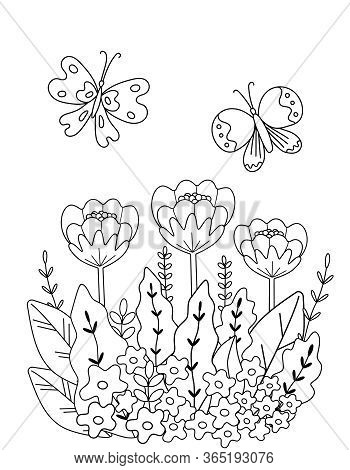 Childrens Coloring Book With Flowers And Butterflies Of Simple Shape. Cute Primitive Drawing For Sma