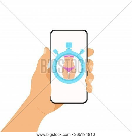 Mobile Communication Concept. The Phone Is In The Human Hand And Sports Application In It. Online Sp