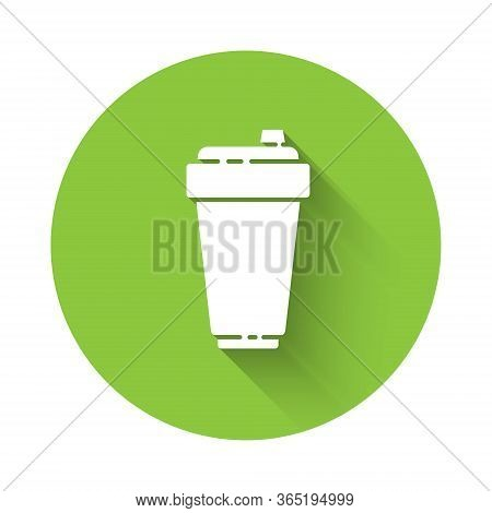 White Fitness Shaker Icon Isolated With Long Shadow. Sports Shaker Bottle With Lid For Water And Pro