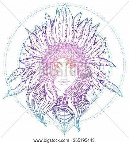 Tribal Fusion Boho Diva. Black And White Illustration Of Native American Indian Girl In Traditional