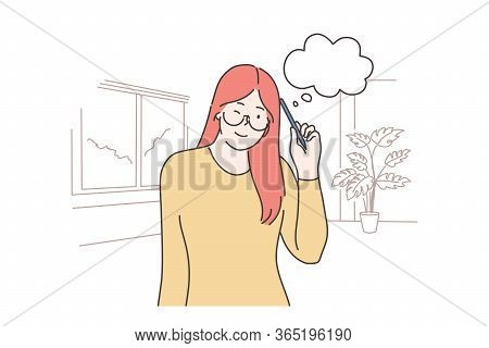 Thinking, Idea, Problem, Search Concept. Young Smiling Thoughtful Woman Girl Cartoon Character Think