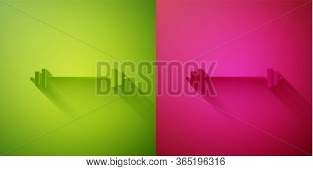 Paper Cut Barbell Icon Isolated On Green And Pink Background. Muscle Lifting Icon, Fitness Barbell,