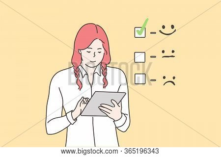 Customer Assessment, Business Concept. Young Happy Smiling Businesswoman Cartoon Character Giving Ex