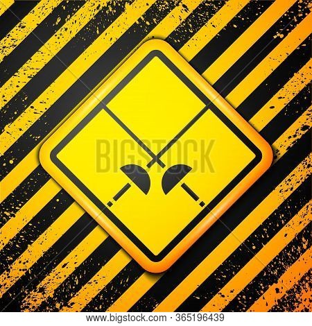 Black Fencing Icon Isolated On Yellow Background. Sport Equipment. Warning Sign. Vector Illustration