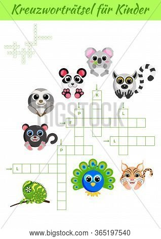 Kreuzworträtsel Für Kinder - Crossword For Kids. Crossword Game With Pictures. Kids Activity Workshe