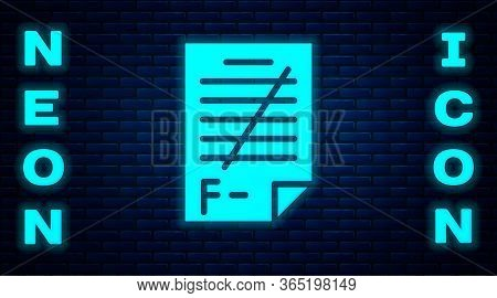 Glowing Neon Exam Paper With Incorrect Answers Survey Icon Isolated On Brick Wall Background. Bad Ma