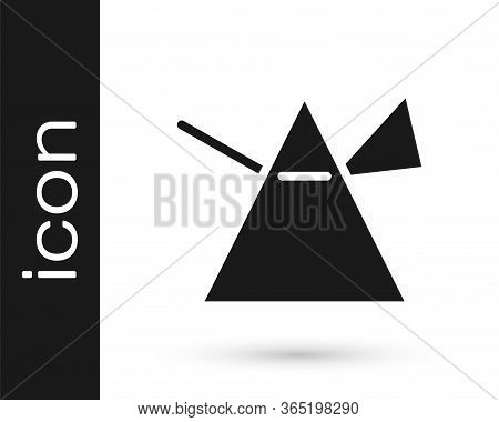 Grey Light Rays In Prism Icon Isolated On White Background. Ray Rainbow Spectrum Dispersion Optical