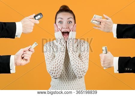 Rich Men Offer Well-being In The Form Of Money And Cars To A Girl, Which Plunges Her Into Shock And