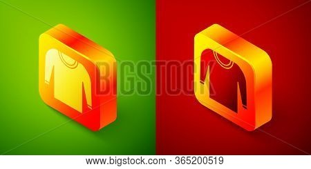 Isometric Sweater Icon Isolated On Green And Red Background. Pullover Icon. Square Button. Vector Il