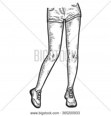 Women Sport Legs In Short Shorts And Sneakers. Sketch Scratch Board Imitation.