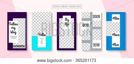 Mobile Stories Vector Collection. Minimal Sale, New Arrivals Story Layout. Blogger Simple Border, So