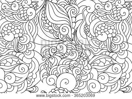 Zen Doodle Coloring Page. Indian Paisley Style Illustration. Zentangle Inspired Artwork. Henna Mehnd
