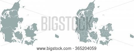 Two Detailed Vector Maps Of Danish Administrative Regions And Areas In Grey Color