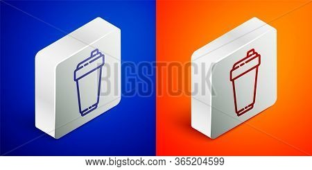 Isometric Line Fitness Shaker Icon Isolated On Blue And Orange Background. Sports Shaker Bottle With