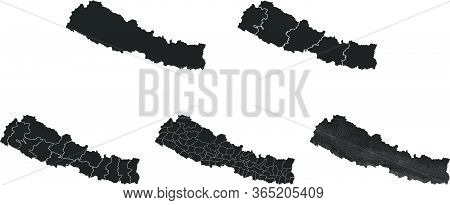 Nepal Vector Maps With Administrative Regions, Municipalities, Departments, Borders