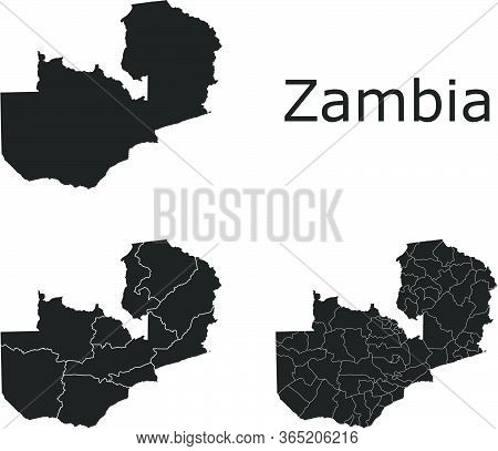 Zambia Vector Maps With Administrative Regions, Municipalities, Departments, Borders