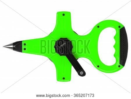 Geodesic Light Green Earth-measuring Tape Isolated On White Background. Horizontal Shot