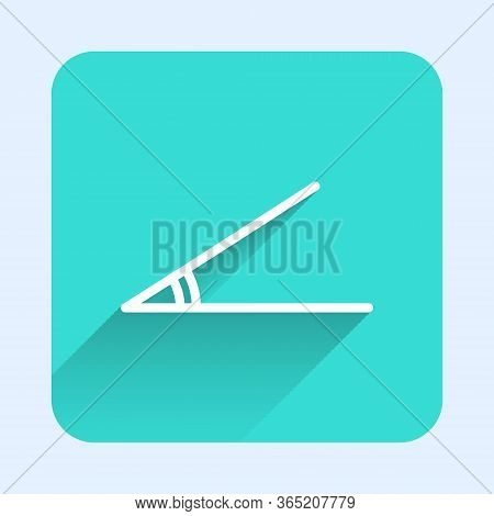 White Line Acute Angle Of 45 Degrees Icon Isolated With Long Shadow. Green Square Button. Vector Ill