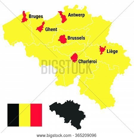 Belgium Map Infographic With Belgian Administrative Regions And Cities Brussels Bruxelles, Liege Lui