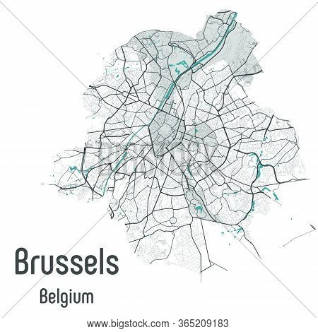 Brussels Map Bruxelles Brussel Administrative Districts Regions Vector Template With Map Of Belgium
