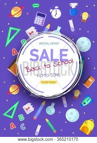 Back to School Sale Sign. Back to school banner, vector banner set of schoolbags, back to school concept , colorful. Vertical view. Back to school sale banner. Back to school banner set. Colorful back to school templates for invitation, poster, banner, pr
