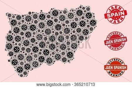 Outbreak Collage Of Virus Mosaic Jaen Spanish Province Map And Scratched Seals. Vector Red Seals Wit