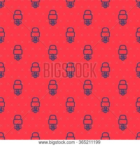 Blue Line Key Broke Inside Of Padlock Icon Isolated Seamless Pattern On Red Background. Padlock Sign