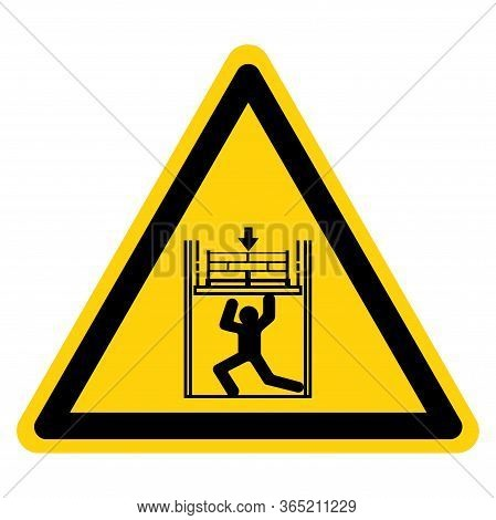 Warning Body Crush Force From Above Symbol Sign, Vector Illustration, Isolate On White Background La