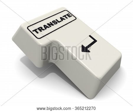One Enter Key Is Marked With The Word Translate. Computer Enter Key With Black Word Translate On Whi