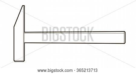 Hammer - Illustration On A White Background. Locksmith Tool - Coloring