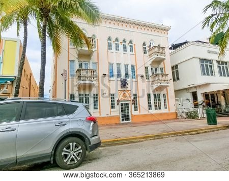 Miami, United States Of America - November 30, 2019: Locust Apartments 1926, 918 Ocean Drive, South