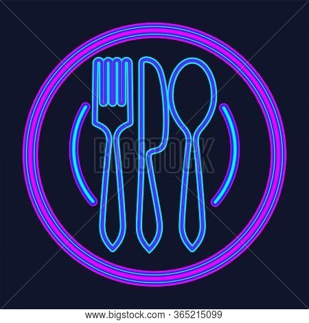 Plate, Fork And Knife Neon Sign. Meal And Restaurant Advertisement Design. Night Bright Neon Sign, C
