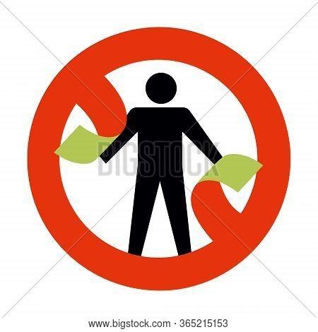 Conceptual Illustration, Man Breaks The Prohibition Symbol No Entry