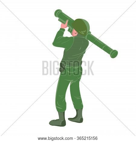 Military Soldier Holding And Aiming Rocket Launcher . War Zone Battle Sign Or Symbol. Heavy Weapon.