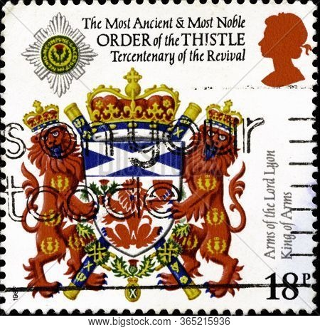 02.11.2020 Divnoe Stavropol Territory Russia The Postage Stamp Great Britain 1987 The 300th Annivers