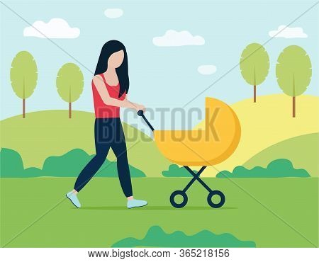 A Young Woman Walks With A Stroller In The Park. Vector Illustration With Young Mother And Child. An