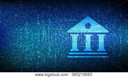 Banking Service Background. Bank Building Icon Made With Currency Symbols. Dollar, Euro, Yen And Pou