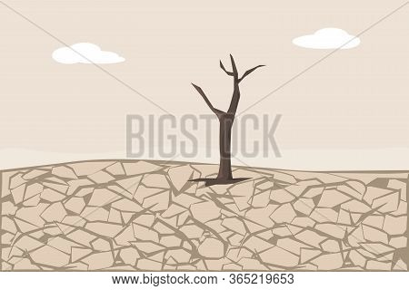 Dry Cracked Land. Soil Erosion And Desertification