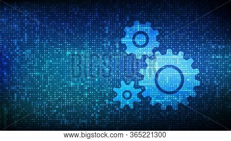 Automation Software Background. Gears Icons Made With Binary Code. Iot And Automation Concept. Digit