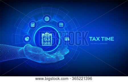Tax Icon In Robotic Hand. Concept Tax Payment. Data Analysis, Financial Research Report And Calculat
