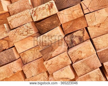 Stack Of Wooden Planks Background Or Texture Concept