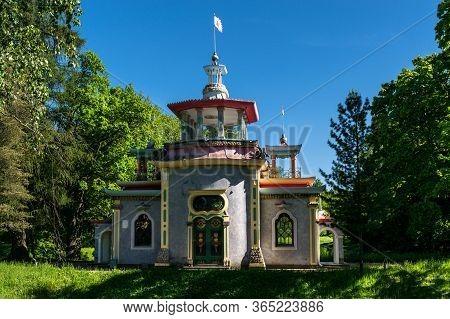 St. Petersburg, Russia, Summer 2019: Tsarskoye Selo, Pushkin, Catherine Park, Building Squeaky Arbor
