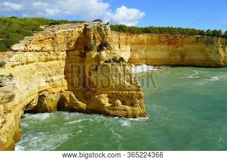 Spectacular Rock Formations On Benagil Beach On The Algarve Coast In Portugal
