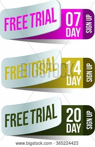 Free Trial Badges. 7, 14, And 20-day Stickers. Vector Illustration