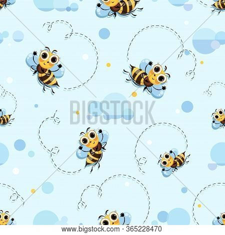 Bee Background. Bee Swarm, Honey Bees Fly In The Clouds. Cute Cartoon Character. Seamless Pattern.
